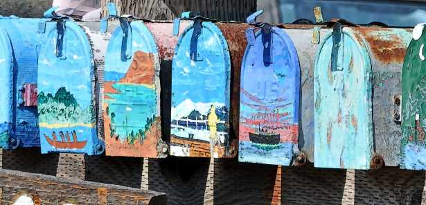 Row of Colorful Mailboxes